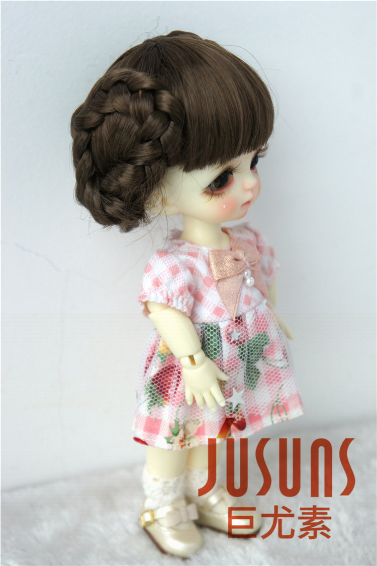 """1//6 or 1//4 bjd 6-7/"""" doll wig pink color curly real mohair W-JD250S dollfie Lati"""