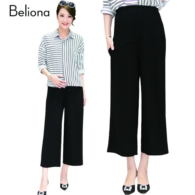Maternity Pants Wide Leg Career Work Pants for Pregnant Women Summer New High Waist Pregnancy Clothes Maternity Trousers M-XXL