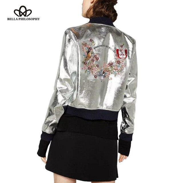 Bella Philosophy 2017 spring fashion metal color back embroidered bomber jacket silver