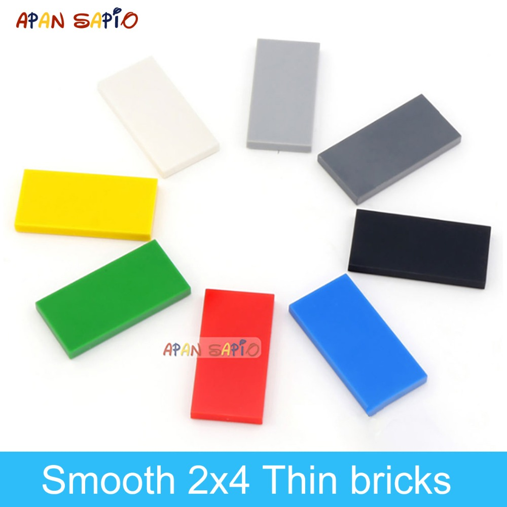 DIY Building Blocks Thin Figures Bricks Smooth 2x4 80PCS Lot 8Color Educational Creative Compatible With Legoe Toys For Children