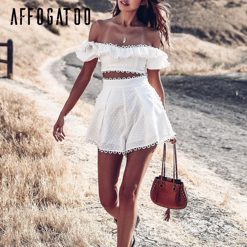 Affogatoo Sexy Elegant Two-piece Ruffle Rompers Womens Off Shoulder Dot Playsuit Jumpsuit High Waist Summer Jumpsuit Short 2019