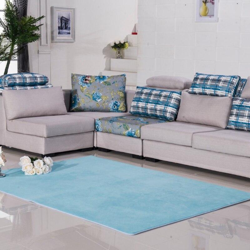 EHOMEBUY New Rugs Light Blue Solid Color Rectangle Anti Slip Door Mats Anti Slip Floor Carpets For Bedroom Living Room Rugs Mats