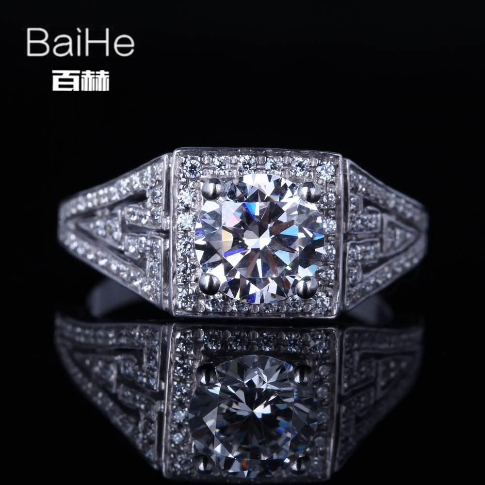 BAIHE Sterling Silver 925 1.25ct Certified Flawless Round CUT 100% Cubic Zirconia Wedding Women Office/career Fine Jewelry Ring BAIHE Sterling Silver 925 1.25ct Certified Flawless Round CUT 100% Cubic Zirconia Wedding Women Office/career Fine Jewelry Ring