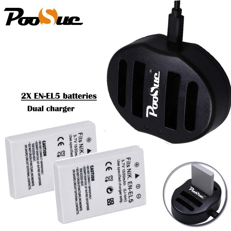 2 pièces EN-EL5 EN EL5 batterie + USB Double chargeur de Caméra POUR NIKON COOLPIX P510 P530 3700 4200 5200 5900 S10 P4 P3 caméra accessoire