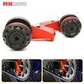 Color rojo para yamaha r3 r25 mt 03, mt 25 de la motocicleta aluminio Eje Trasero Eje Ajustador Cadena Bloques con carrete Basculante sliders