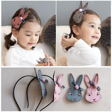 Korea Handmade Cotton  Rabbit Hair Accessories For Girls Hairgrips Hairpins Head-wear Set Headband Band