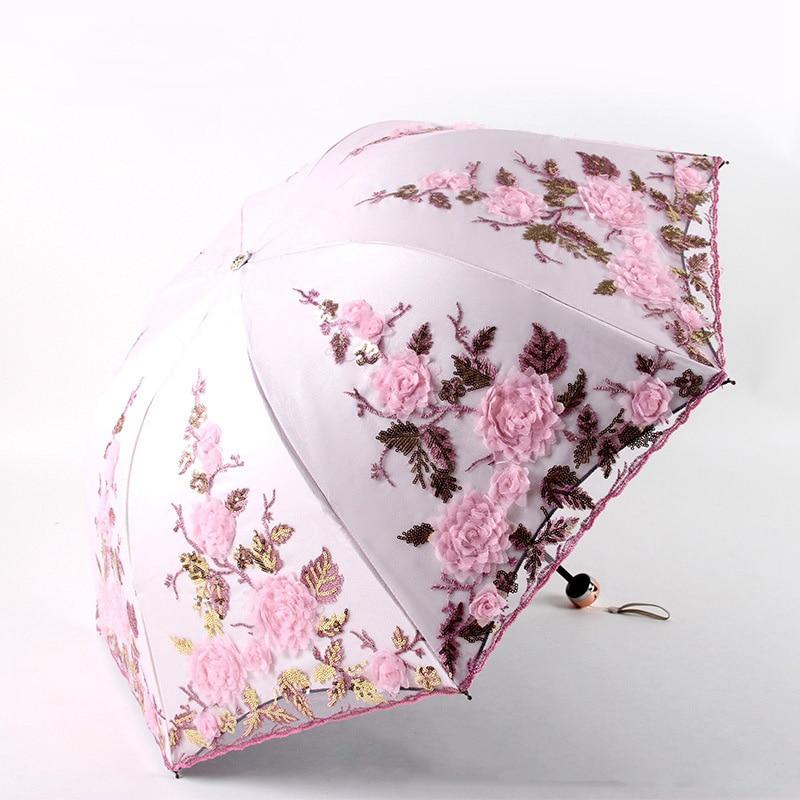 Folding Flower Umbrella Rain Women Three Customized Female Tools Unique Parasol