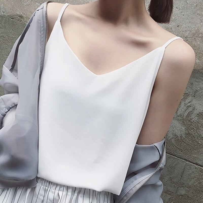 Chiffon Top Women Sexy Sleeveless Top Plus Size Camis Tops Women Summer Halter Tops Korean Woman Harajuku Strap Vest Tees Female
