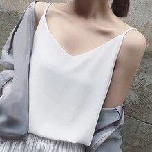 T shirt sans manches en mousseline de soie pour femmes, Sexy, Camis de grande taille, hauts coréen, Harajuku, sangle, tee shirts pour femmes, été vêtement bain de soleil