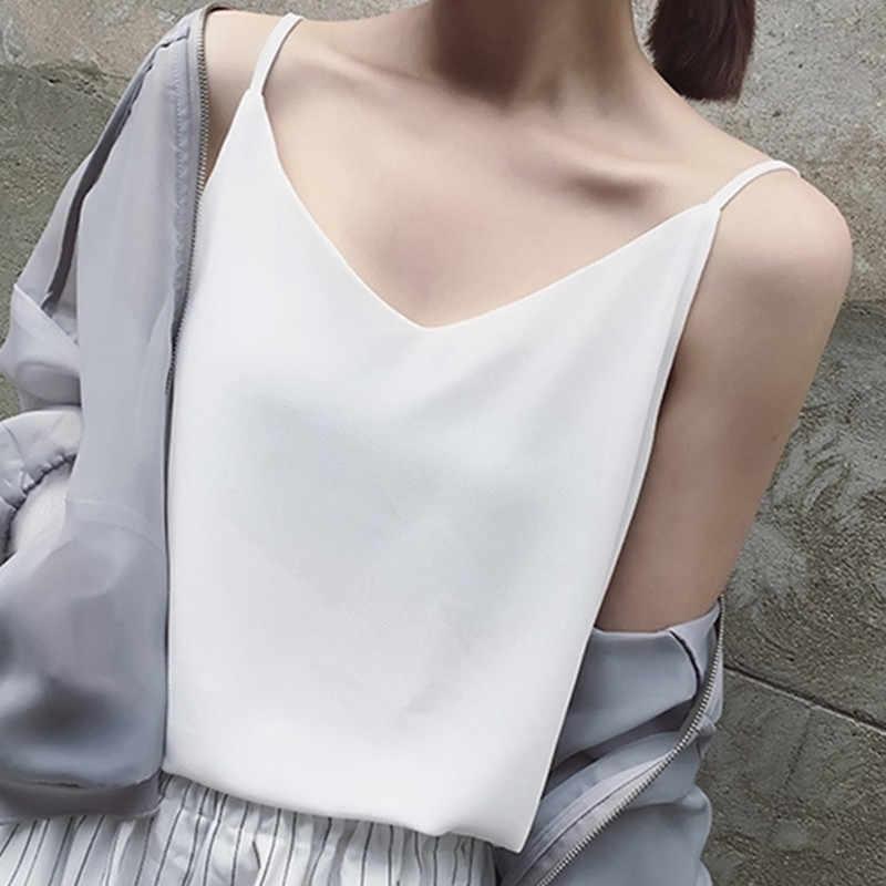 Top en mousseline De soie Femmes Sexy t-shirt sans manches grande taille Débardeurs hauts Femmes D'été vêtement bain de soleil Femme Coréenne Harajuku Sangle Gilet T-shirts Femme