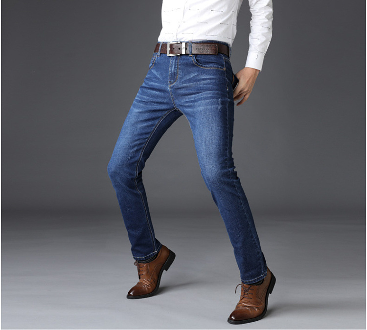 KSTUN Jeans Men Straight Regular Fit Stretchy Blue Black Business Casual Men's Long Trouers Fashion Spring Summer Jeans for Man Homme 10