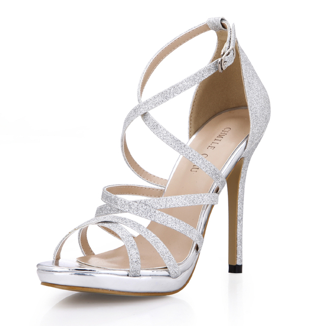 CHMILE CHAU Glitter Sexy Wedding Party Women Shoes Stiletto Heel Gladiator Rome Buckle Ankle Strap Bridal Sandals 0640A-4c 4
