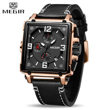 лучшая цена Luxury Brand MEGIR Chronograph Men Watches Leather Business Quartz Watch Men Fashion Sport Military Wristwatch Relogio Masculino