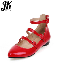 2017 Big Size 32-43 Shoes Woman Brand Gladiator Style Women Flats Buckle Strap Flat Sole Casual Pointed toe Shallow Spring Flats