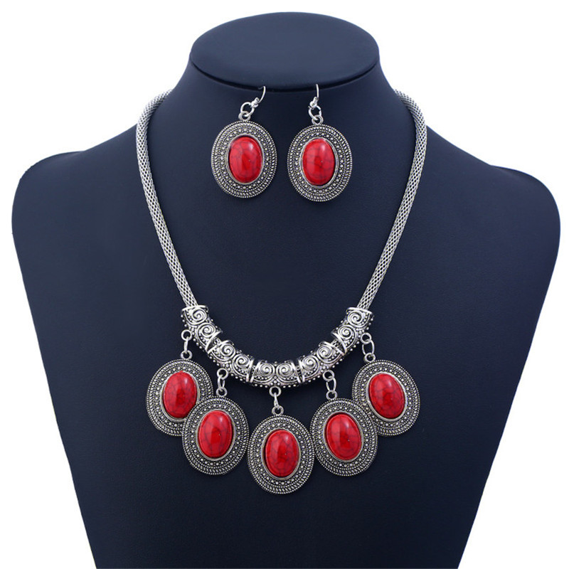 Retro Styled Faux Stone Necklace and Earrings Set