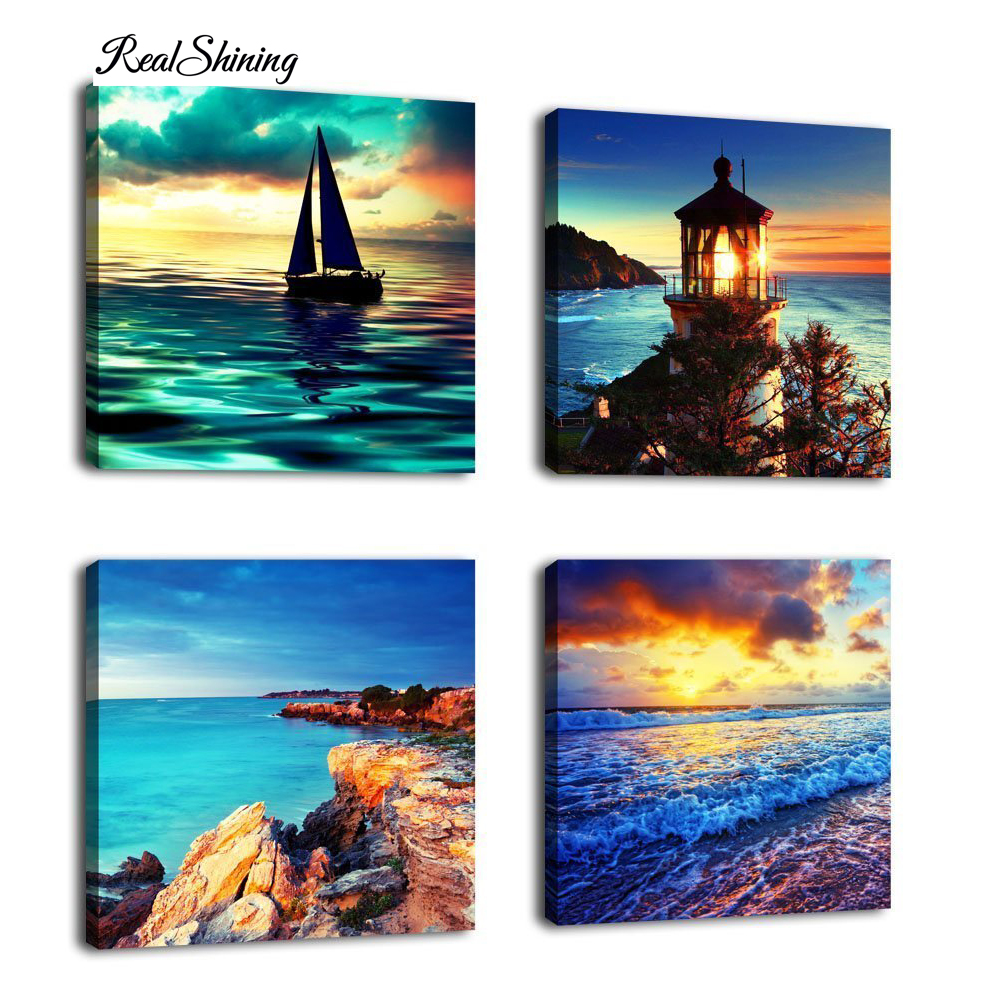 REALSHINING 3D Diamond Painting Sunset Beauty Crystal