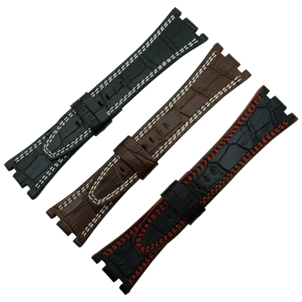 For Audemars 100% Handmade 28 mm Genuine Leather Handmade Watch Band Strap For AP For Piguet+Screw +Tools