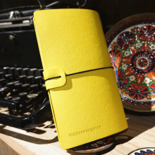 """Miss Mango"" Yellow Color Faux Leather Notebook Weekly Planner Blank Free Note Study Diary Journal"