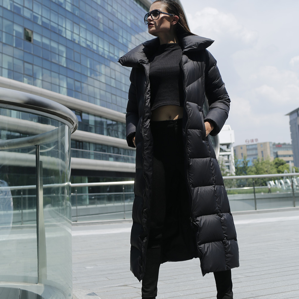 Women X long down coat Plus size Winter thick warm loose Black down parka  Wide waist Manteau Hiver Femme Mujer Invierno Abrigos-in Parkas from Women s  ... cec3cbbbaf
