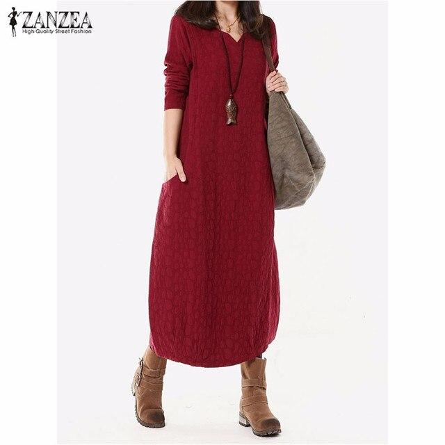 b440b75bd26 Vestidos 2018 Autumn ZANZEA Women V Neck Vintage Cotton Linen Dress Long  Maxi Dress Long Sleeve