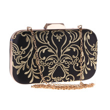 Bamboo Charm Fashion Embroidered Black Evening Clutch For Women Party Pouch Flower Handbag Flap Crossbody Messenger Shoulder Bag cute embroidered applique fashion striped ice cream design ladies shoulder bag handbag crossbody mini messenger bag pouch flap