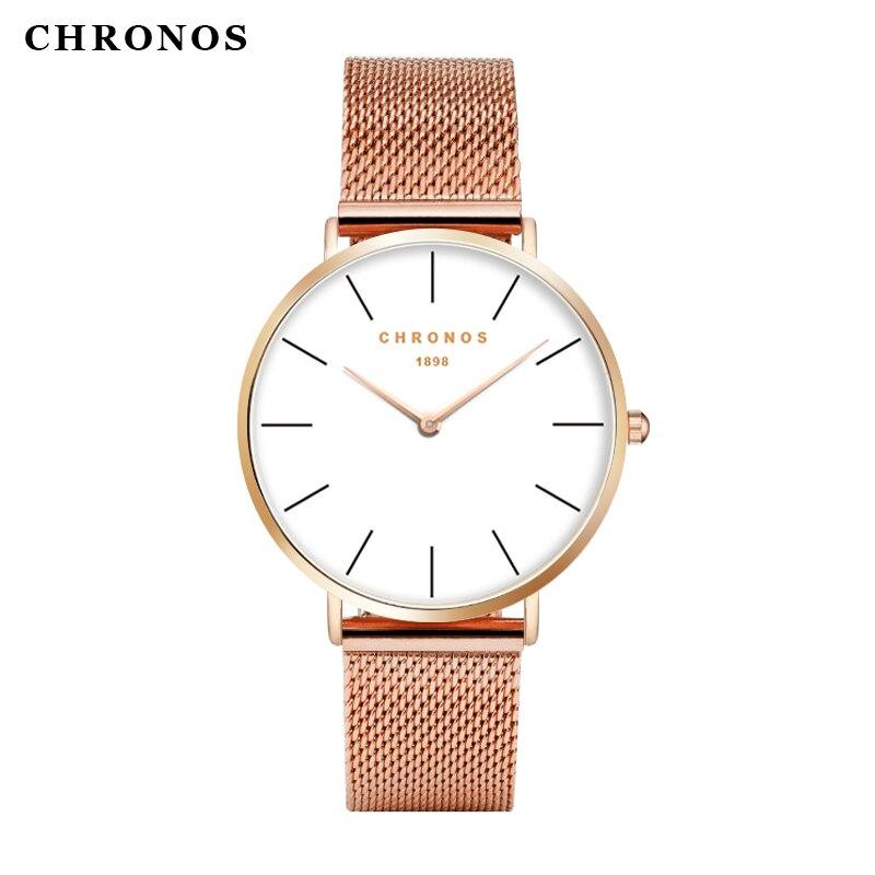 Hombres mujeres relojes CHRONOS marca de lujo Caja Oro rosa mujer hombre reloj de cuarzo Relogio Masculino reloj Feminino Masculino