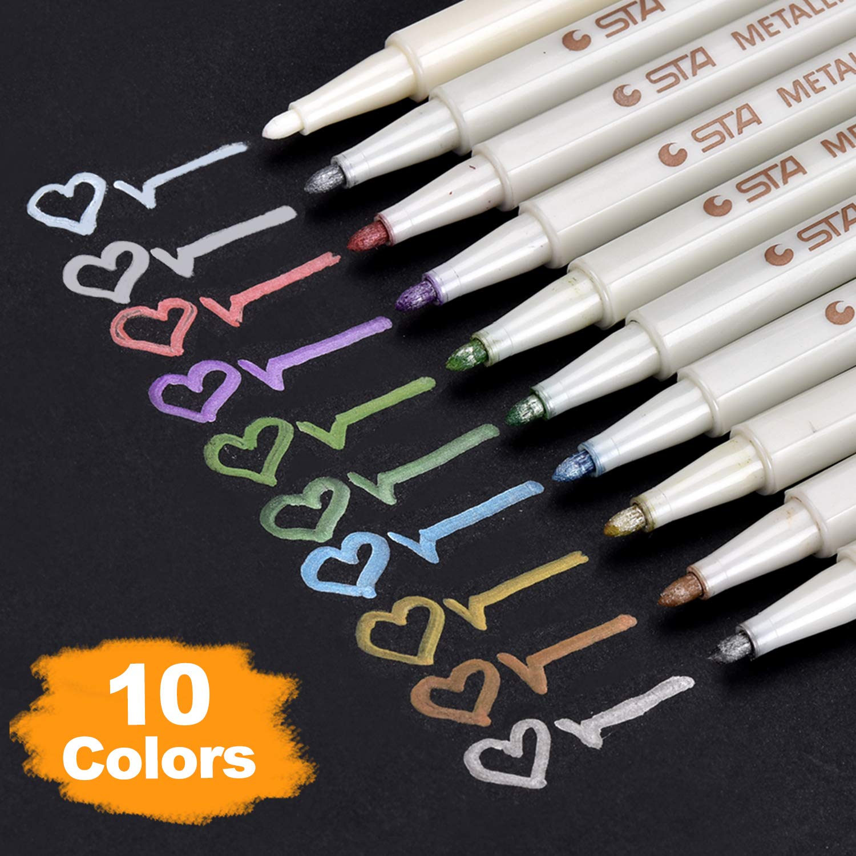 10 Assorted Metallic Colors Paint Pen For Scrapbooking DIY Craft Photo Album Watercolor Art Marker Gel Pens Set Gift Stationery