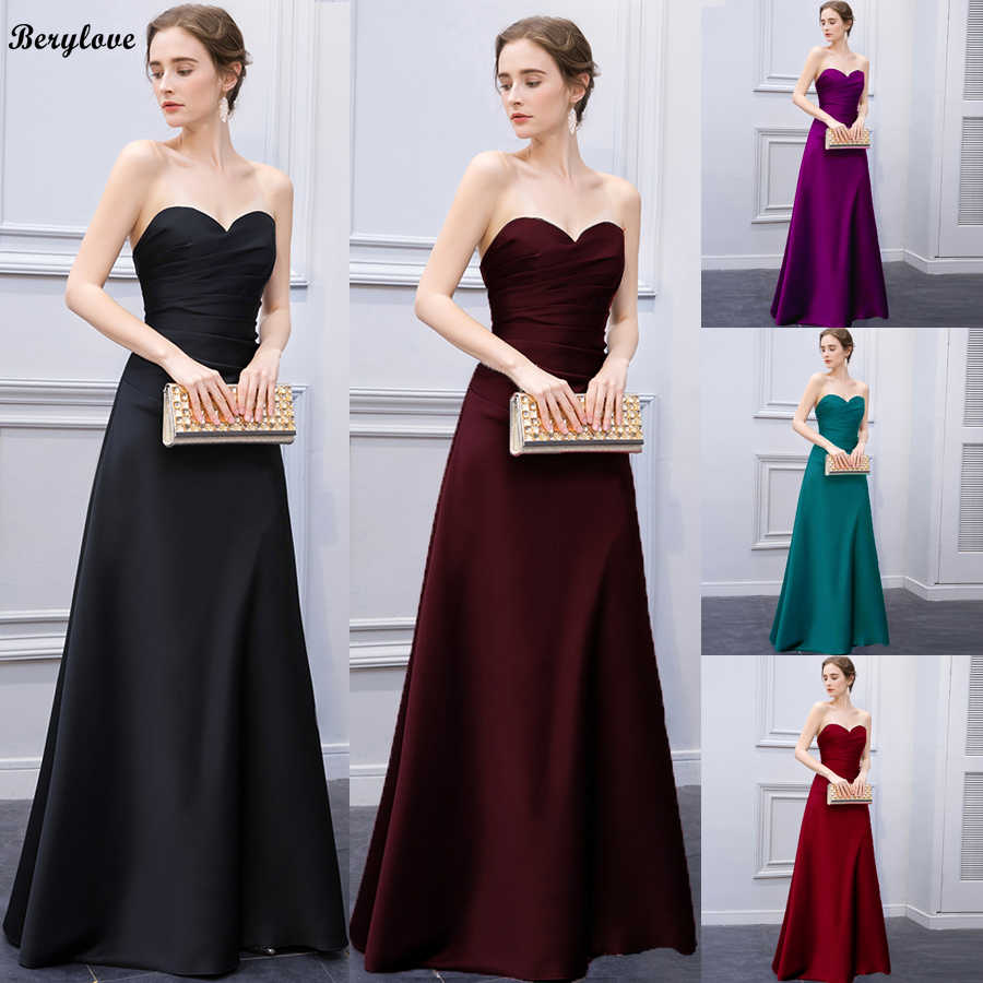 BeryLove Sweetheart Black Satin Evening Dress Long Women Pleated Simple  Elegant Gown Formal Prom Gowns Dresses 188d3753b37d