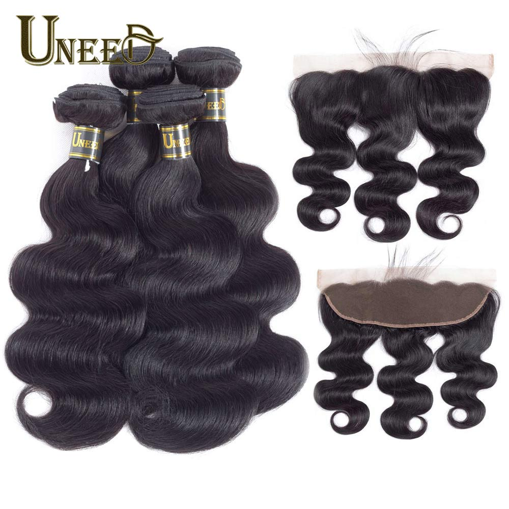 Brazilian Body Wave Hair 3 Bundles With Lace Frontal Closure 13X4 Pre Plucked Remy Brazilian Human Hair Bundles With Closure