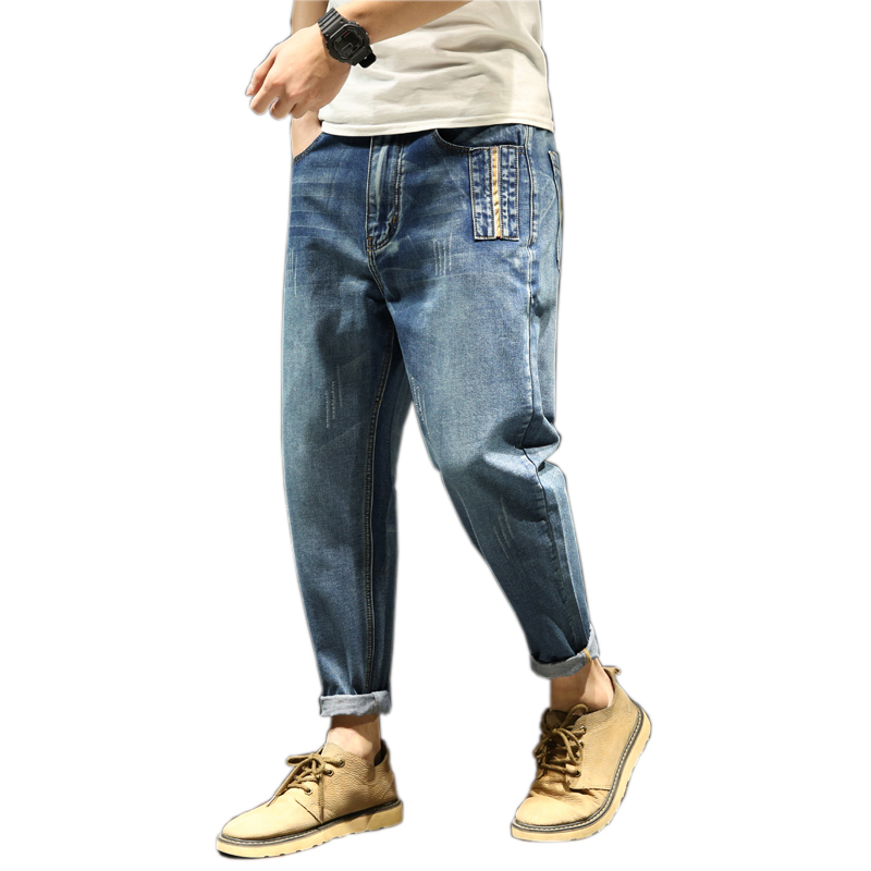 Harem Jeans Men Harem Pants Male Plus Size Loose Casual Pants Denim Homme 100% Cotton Plus Size Full Length Mens Trousers