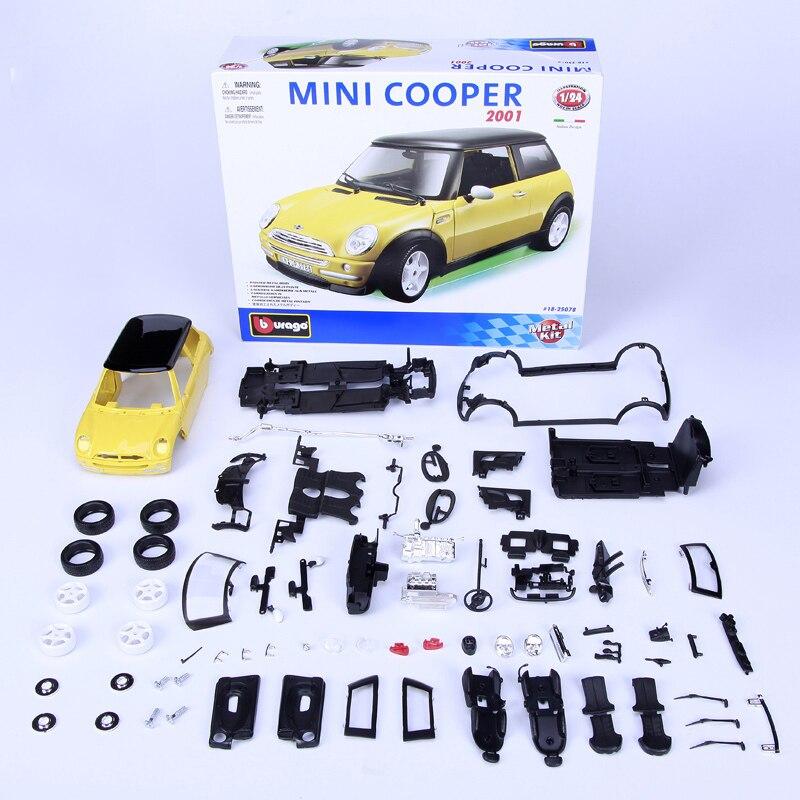 model building kits mini cooper 2001 124 assembly toy kids gift mini car diy