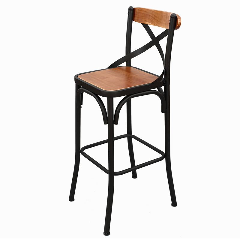 European and American style bar chair wrought iron solid wood bar chair Simple modern high bar chair stool front chair iron art bar chair european style bar chair lifting high footstool household backrest stool