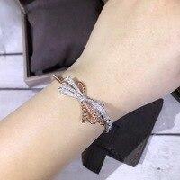 fahsion luxury brand 925 sterling silver jewelry bracelet silver rose gold half zircon half rope chain link bracelet