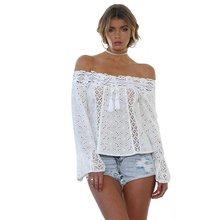 New Womens Tops and Blouses Plus Size One-shoulder Strapless Lace Long-sleeved Tassel Stitching Top Off Shoulder Ladies Tops