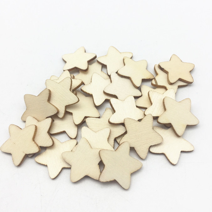 18 Mm De Madera estrellas Shabby Chic Craft Scrapbook Vintage Madera Color Star
