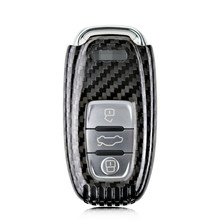 2016 New Genuine Carbon Fiber Car Auto Remote Keyless Entry Key Case Cover Fob Holder Shell for Audi A4 A6 TT Q3 Q5 Car Styling