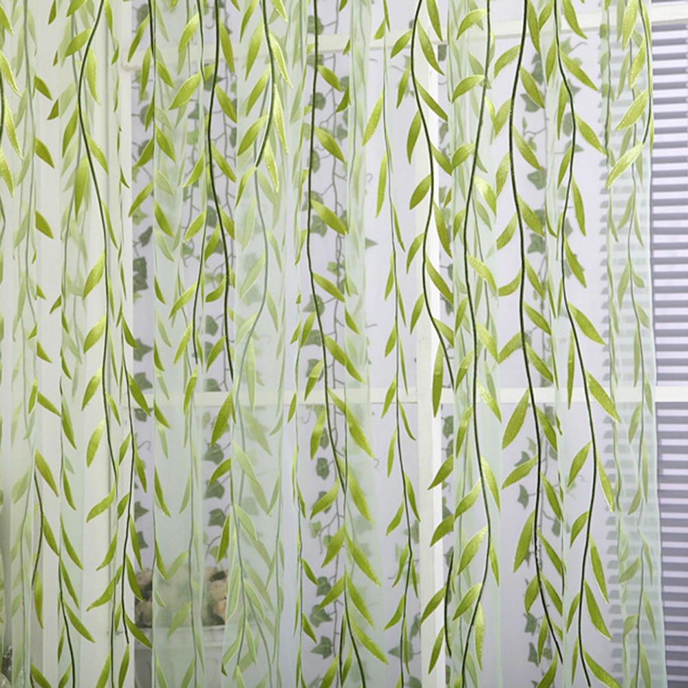 Flat panel curtains - Chic Room Willow Pattern Voile Window Curtain Floral Print Sheer Panel Drapes Scarfs Curtain China