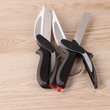 Multi-Function Smart Clever Cutter Scissors 2 in 1 Cutting Board utility cutter Stainless Steel Ourdoor Smart Vegetable Knife
