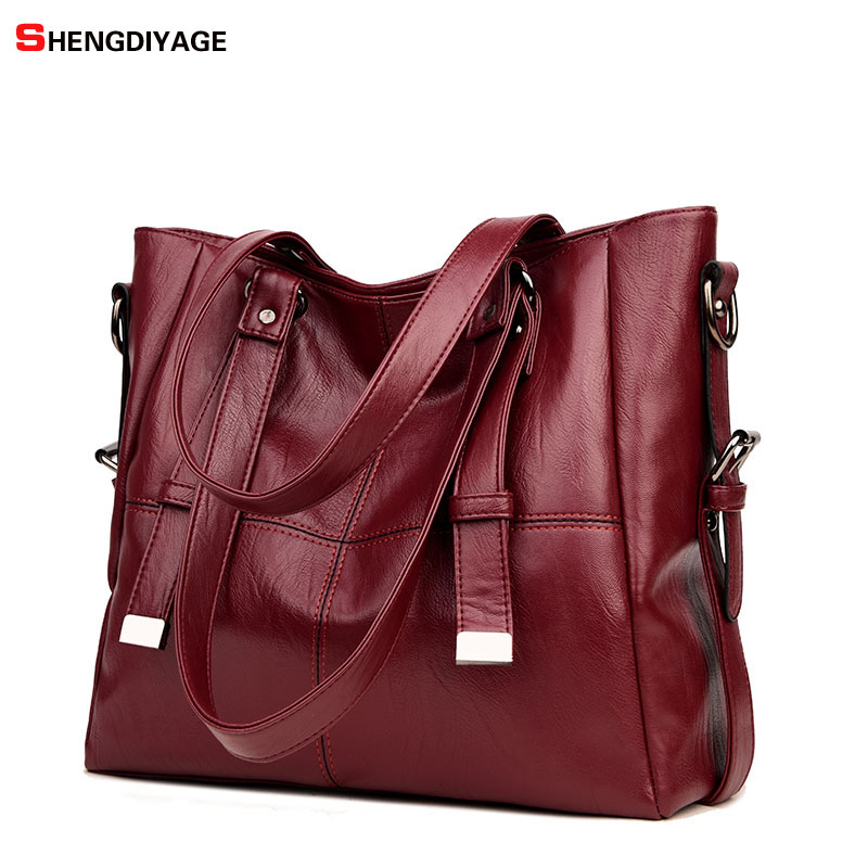 SHENGDIYAGE NEW Double belt women bag Top-handle bags handbags women famous brands female Stitching casual tote Big shoulder bag new fashion style belt top handle bags women bags handbags women famous brands oil skin solid soft female casual tote sac a main
