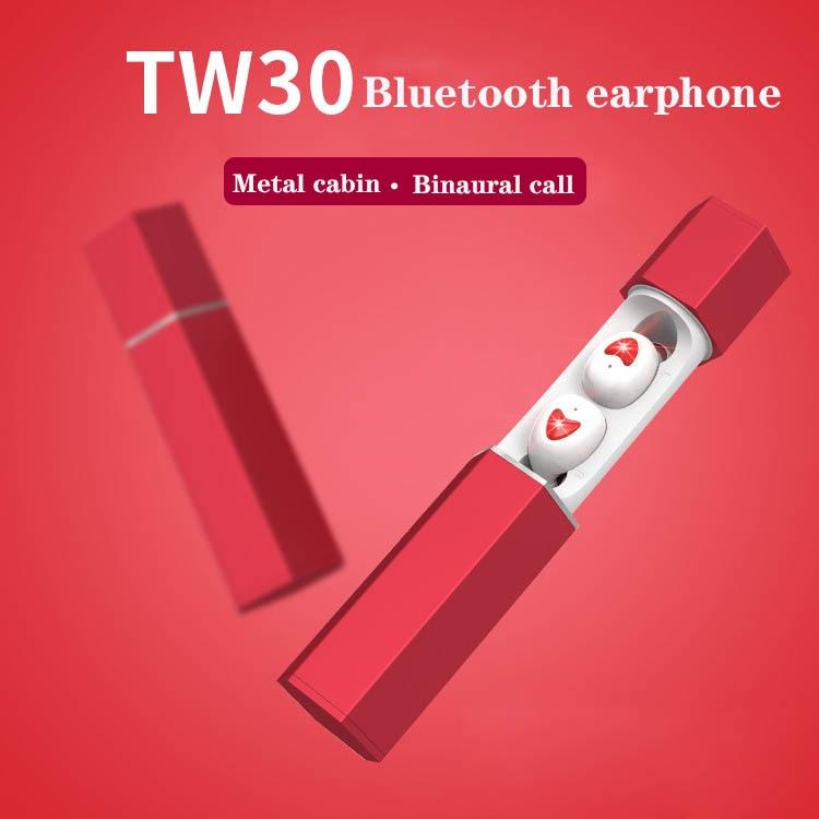 TW30 Bluetooth V5.0 TWS Handsfree Earphone Mini Wireless In Ear headphones HiFi noise reduction With Metal charging box
