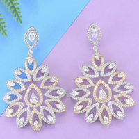 missvikki Wholesale Rhinestone Crystal New Earrings Peacock Tail Shape Ornament For Women Wedding Engagement Dance Party Jewelry