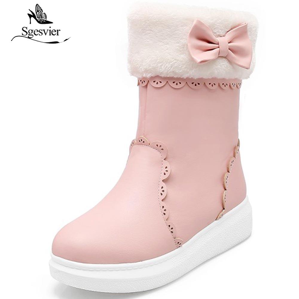 Sgesvier Winter Fur Women Shoes Winter Warm Snow Boots Ankle Boots Platform Heeled Boots Beige Pink Shoes Women Size 31 43 B666
