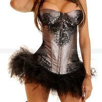 Gray Lace Decorated Overbust Corset with Suspender Underwire Bustier Top Sexy Lingerie + Black TuTu Skirt S M L XL 2XL