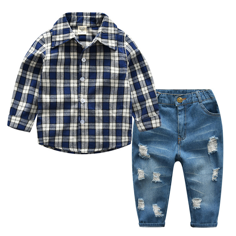 2PC Toddler Baby Boys Clothes Outfit Infant Boy Kids Shirt Tops+Jeans Casual Clothing Autumn/Summer Children Clothing 2-7Years