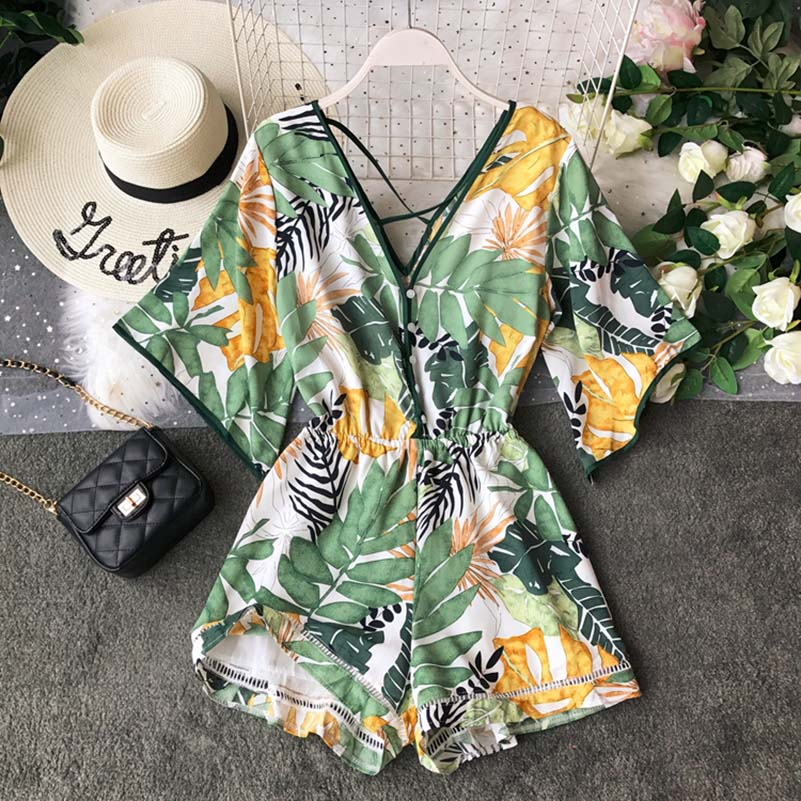 Boho Short Women Jumpsuit Beach V Neck Backless Korean Sexy Chiffon Tunic Floral Print Plus Size Summer Women Overalls Rompers