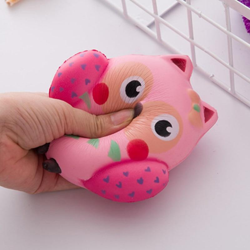 Squishy Kawaii Cute Pink Owl PU Soft Jumbo Slow Rising Phone Strap Pendant Squeeze Break Kids Adults Relieve Anxiety Fun Gift