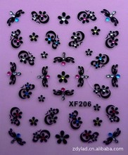 flower black 3D design Water Transfer Nails Art Sticker decals lady women manicure tools Nail Wraps Decals flower