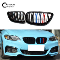 F22 Front Kidney Grille for BMW 2 Series F23 F87 Grill 2 Slat Gloss Black M color 220i 235i 2014 +