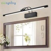 AC110 240V L45/55/65/75cm LED front mirror lamp black Metal Vanity Lights 9/12/14/16W led bathroom toilet wall lighting fixture