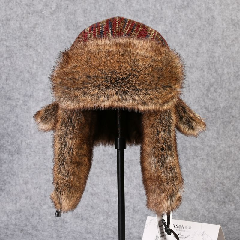 Fur Hat Bomber-Hat Snow-Caps Russian Trapper Rex-Rabbit-Fur Winter Ushanka Mens Ear-Flap-Caps
